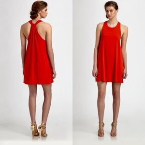 Alice + Olivia Liz Red Stretch Silk Twist Dress